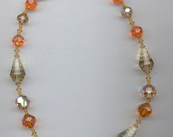 Dazzling vintage Vendome necklace - rare Swarovski crystals in light brown and sun (fiery orange)