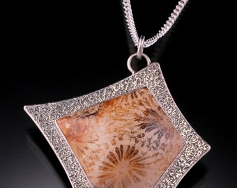 Fossil Coral and Sterling Silver Pendant