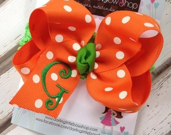 Fall Pumpkin Bow --- Large Orange and White Polka Dot Monogrammed Bow with Green with inital --- you choose initial