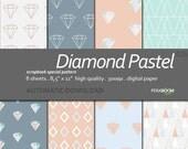 "Digital Paper +Diamond Pastel + Scrapbook Quality Paper Pack  (8.5x11""- 300 dpi)   8 sheet pack paper  026 + Instant Download +"