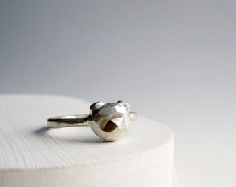 Faceted Bear Sterling Silver Ring