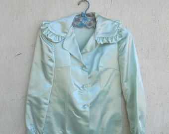 Vintage 70s Bodysuit . Ruffled Mint Green Satin Blouse