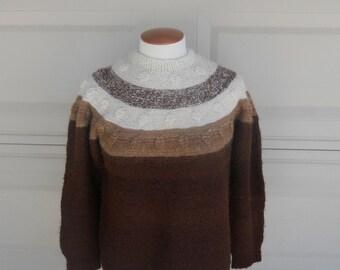 Brown Striped Alpaca Sweater . Handmade in Peru