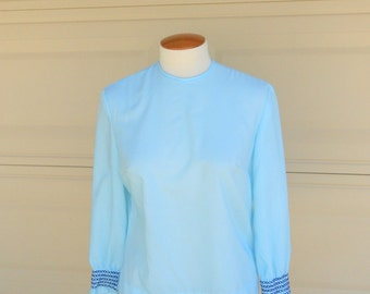 SALE Vintage 60s Blouse . Baby Blue with Smocking . Button Back