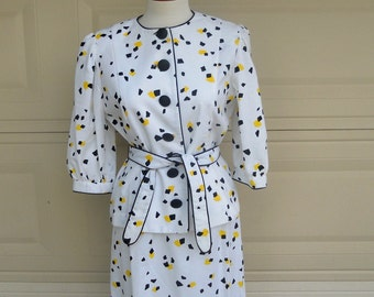 Vintage 80's Confetti Dress . Yellow Black 3 Piece Set . Umba for Parnes Feinstein