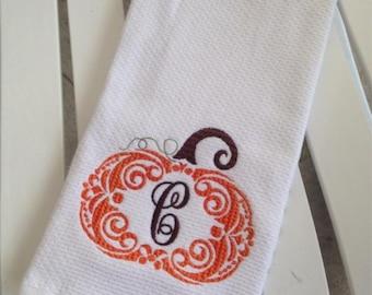 Monogrammed Fall Pumpkin kitchen towel