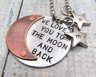 Personalized Jewelry I Love You to the Moon and Back Necklace Hand Stamped Personalized Necklace Riveted Mixed Metal Cold Connections (101)