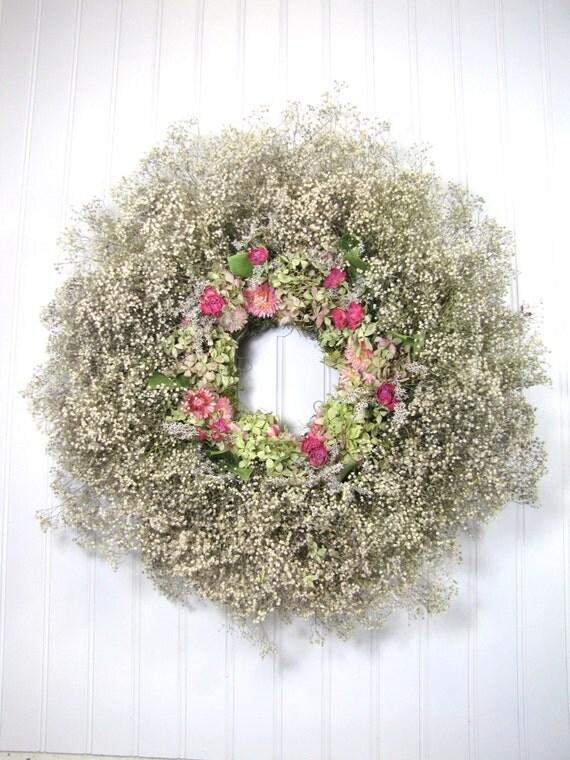 Dried Floral Wreath Baby S Breath Wreath Gypsophilia