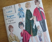 Vintage Vogue Pattern 5345 Misses' Stole-Coat   circa 1961
