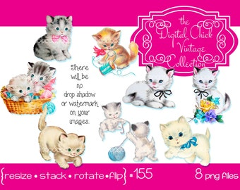 Digital Clipart, instant download, Vintage Kitten images, kitty cat cats kittens sewing basket flowers thread printable images png files 155