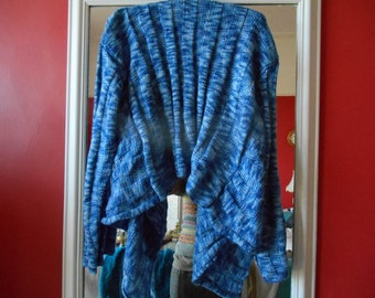 Lovely handknit waterfall cardigan lagenlook blue one size