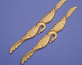 1-Flying Swan Bird  Embellishment  Raw  Brass  Stamping Jewelry Findings no Hole.(100x13mm)
