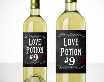 Love Potion #9 Printable Wine Label - Gift - Chalkboard Wine Labels - Instant Download - Valentine Gift - Valentine's Day Gift