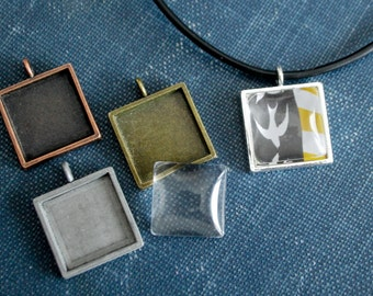 6 - 16mm ( 5/8 inch) Square blank pendant setting- Cabochon setting, silver, antique bronze and antique copper