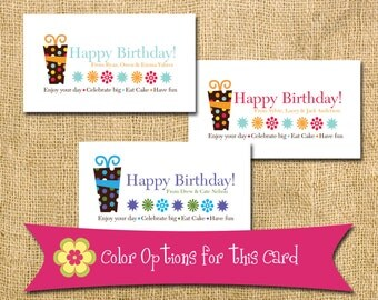 Birthday Present Tag - Includes 50 Cards Printed - birthday party tag from card