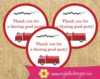 INSTANT DOWNLOAD Printable Firetruck Party Favor Stickers - Birthday DIY - child children thank you fireman fire flames hose rescue hero