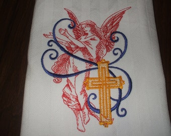 Embroidered Towel: Patriotic Angel