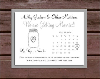 Mason Jar Wedding Save the Date Cards Invitations