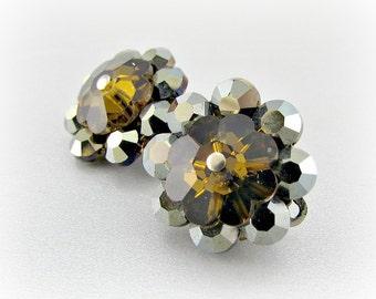 Vintage Margarita Flower Earrings, Aurora Borealis, Brown Topaz, Rivoli Rhinestones, Clip-on, 1950s 1960s Mad Men Costume Jewelry
