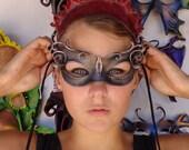 Steampunk Cateye Curls Leather Mask