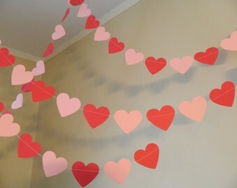 Valentines Day Decorations / 6ft Red and Pink Paper Heart Garlands / Party Decor / Valentines Day Photo Prop
