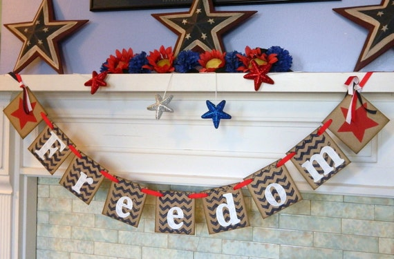 Fourth of July Decorations- freedom banner- Americana Decor- Patriotic Banner- July 4th Decor Photo Prop
