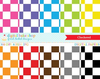 digital papers checkered squares - Checkered Digital Papers