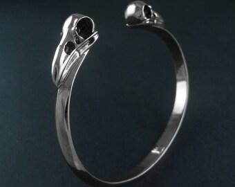 Raven Skull Cuff - Antique Silver Bird Skull Cuff - Bird Skull Bracelet