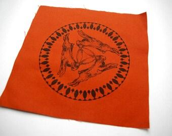 Three Hares Rust Sew On Punk Patch