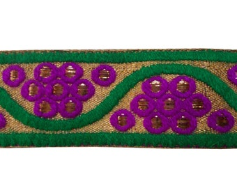 2 yards  embroidered trim in gold,purple and green