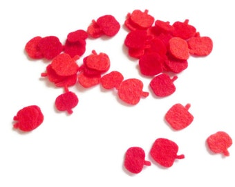 Felt apples felt shapes die cut felt shapes for arts and crafts Size 1cm red apples mini apple felt fruit