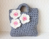 Little Girl Little Purse in grey with flowers and buttons