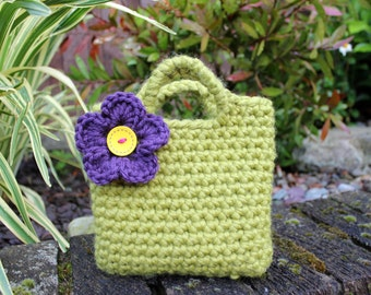 Little Girl Little Purse in meadow green with purple flower and button