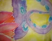 Handpainted OOAK silk pocket square hankerchief tentacle lotus blossom original design Lovecraft horror