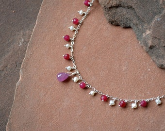 Pink Sapphire Necklace, Mixed Gemstones with Pearls and Rubies, Delicate Sterling Silver Chain