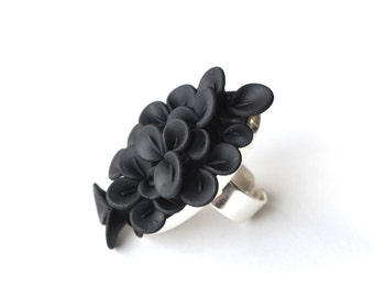 Polymer Clay Ring, Sterling Silver Ring, Flower Ring