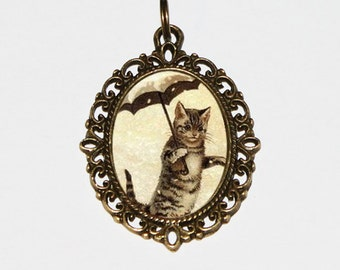 Cat Necklace, Umbrella Cats, Cat Lady Jewelry, Victorian Cats, Whimsical, Bronze Oval Pendant