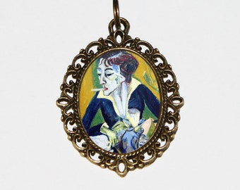 Erna With Cigarette Necklace, Fine Art, Smoking Jewelry, Oval Pendant