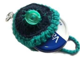 Green & Navy Keyring/Keychain Vaseline Tin Holder. Round Lip Balm Holder, Women, Bag Accessories, Gift Idea,