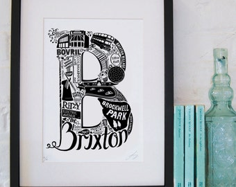 Best of Brixton - London print - London poster - London Art - Typographic Print - London illustration - letter art - South London poster