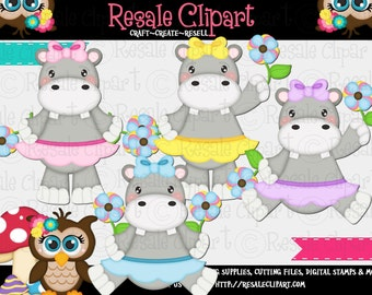 Hippo Girls and Flowers 1 Clipart (Digital File Download)