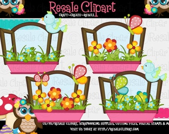 Springtime Windows Pink Clipart (Digital Download)