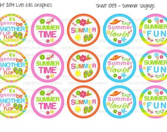 """15 Summer Sayings Another Flip Flop Summer 1 Download for 1"""" Bottle Caps (4x6)"""