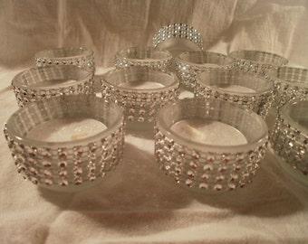 Tea Lights, Frosted Glass,  Rhinestone Bling,Wedding Candles, Centerpiece Tea Light Candles
