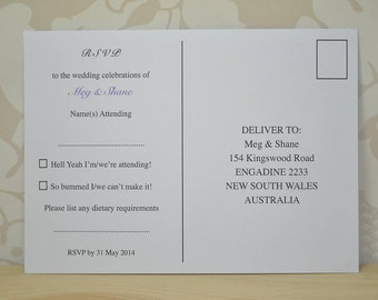 RSVP Postcard Style Reply Cards
