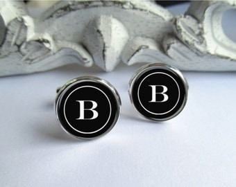 Monogram Cufflinks, Personalized Mens Cufflinks, Custom Initial Cufflinks