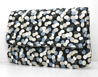SALE - Clutch - Dark Gray, Ivory, Steel Blue, and Tan Dots on Black with 2 Pockets - Ready to Ship
