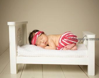 Newborn Pant Set, Pink and Cream or Grey and Cream Scallop Stretch Knit Pants & Headband Set, Newborn Photography Prop, Knit Pants, Headband