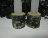 Wooden candle holders - woodland natural pagan tree dinner table housewares altar yule chrisrmas