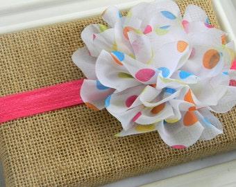 Polka Dot Chiffon Flower Headband, Baby Headband, Infant Headband